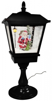Snowy LED Lantern for table 65 cm Red With Santa Claus