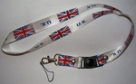 UK lanyard White , key chain with hook for your ID card, mobile and what ever you want from profimaterial
